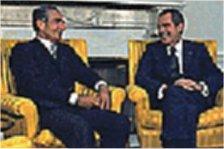 نیکسون و شاه در یکی از دیدارهای دوستانه