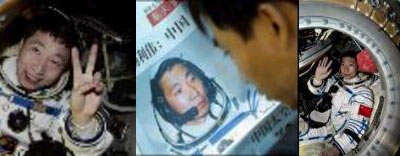 سرهنگ يانگ پيش از پرتاب ــ پس از بازگشت ـــ در صفحه اول روزنامه هاي چين