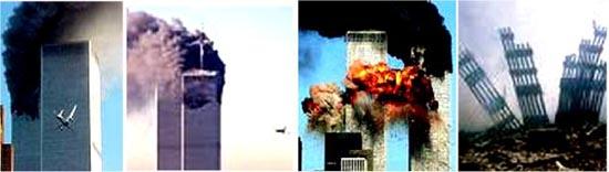 صحنه هاي اصابت هواپيما به برج دو قلوهاي نيويورک در 11 سپتامبر2001 و تخريب آنها