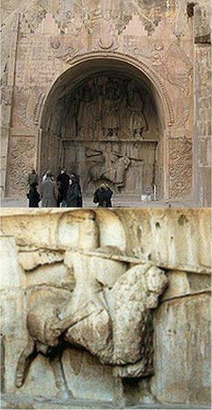 تصویر سنگی خسروپرویز در لباس سواره نظام زرهپوش ایران دوران ساسانیان (طاق بستان - کرمانشاه)