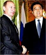 در جریان دیدار «هو جین تائو» رهبر چین از روسیه