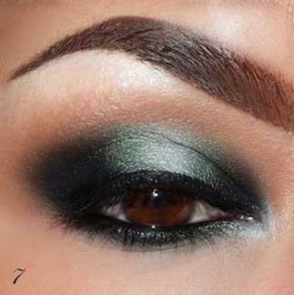آموزش تصویری آرایش چشم به رنگ سبز و دودی