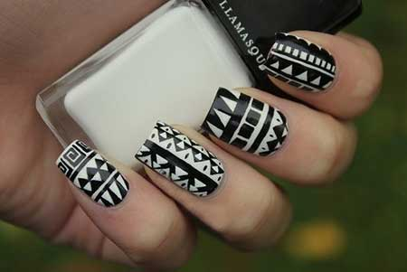 تصاویر طراحی ناخن سیاه و سفید