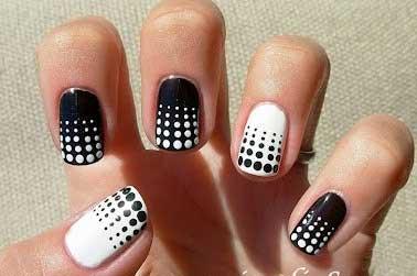 آرایش ناخن, طراحی ناخن, طراحی ناخن سیاه و سفید