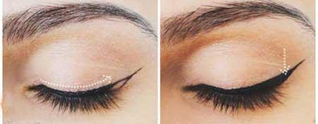 آرایش چشم,آموزش تصویری آرایش ,آرایش چشم گربه ای