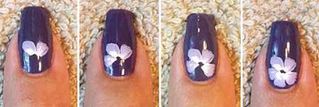 طراحی ناخن,طراحی ناخن زیبا , طراحی ناخن گل بنفشه