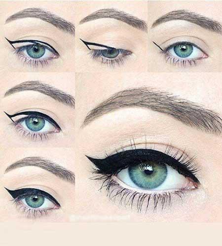 نتیجه تصویری برای نحوه کشیدن خط چشم