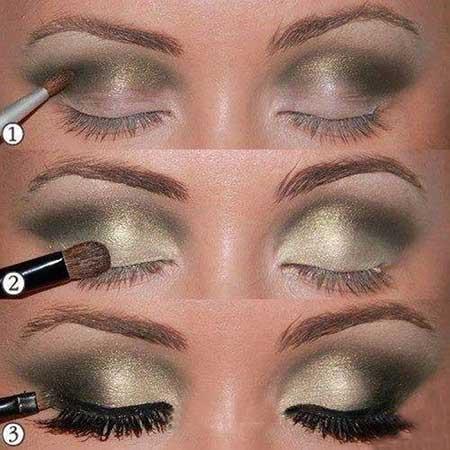 آرایش چشم,آرایش چشم طلایی,آموزش تصویری آرایش چشم طلایی