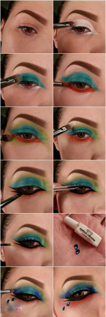 آموزش کشیدن سایه چشم رنگین کمانی