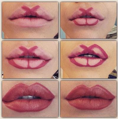 آرایش لب های نازک,گریم لب,رژ لب