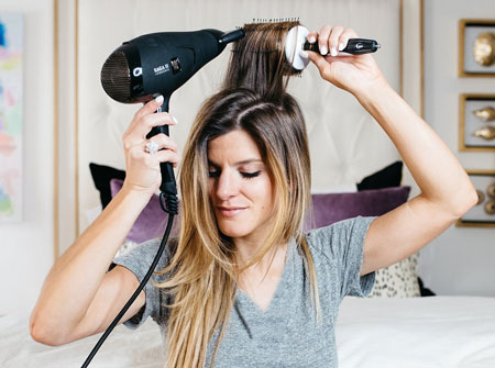 سشوار کردن,اصول سشوار کردن مو,طرز سشوار کشیدن مو