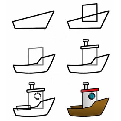 قایق, آموزش نقاشی قایق, طرز کشیدن نقاشی قایق, نقاشی, آموزش نقاشی