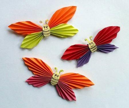 کاردستی در مورد تشدید کاردستی پروانه با کاغذ رنگی