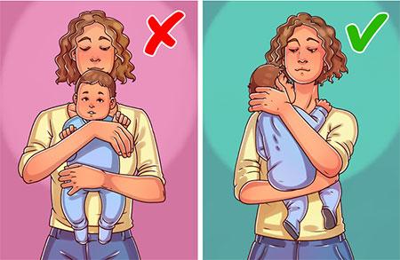 روش های نگهداری از نوزادان,چگونگی نگه داشتن نوزاد