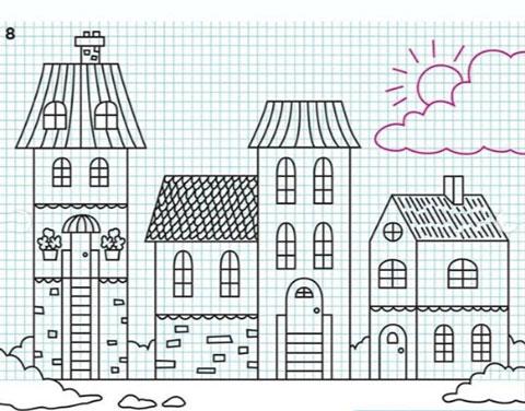 آموزش کشیدن نقاشی شهر,آموزش کشیدن نقاشی خانه,موزش مرحله به مرحله نقاشی