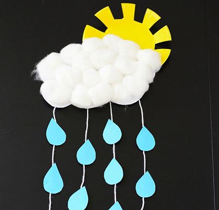 کاردستی,کاردستی ابر و خورشید,کاردستی ابر باران زا