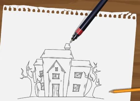 نقاشی خانه,آموزش گام به گام نقاشی خانه برای کودکان,آموزش طراحی نقاشی خانه