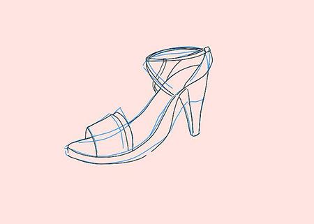 آموزش کشیدن نقاشی کفش زنانه,نقاشی کفش زنانه,نقاشی کفش