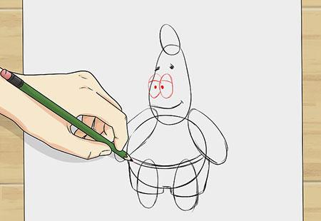 نقاشی پاتریک,کشیدن نقاشی کارتونی پاتریک,آموزش کشیدن نقاشی پاتریک