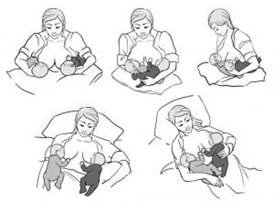 پوزیشن های مختلف شیردهی,انواع حالات شیردهی,روش های شیردهی