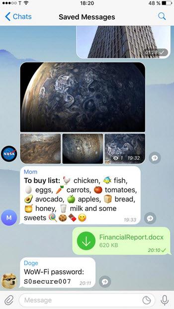 بروز رسانی جدید تلگرام, امکانات تلگرام