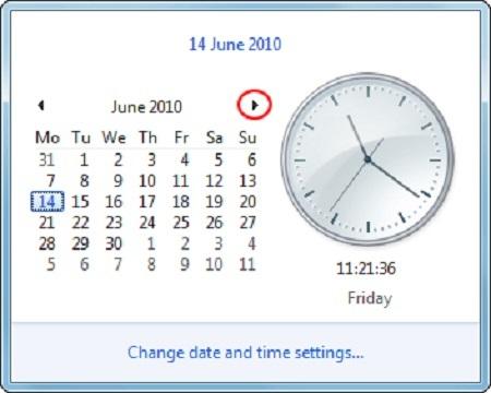 نحوه تنظیم ساعت و تاریخ, تنظیم ساعت و تاریخ کامپیوتر, تنظیم ساعت ویندوز 7