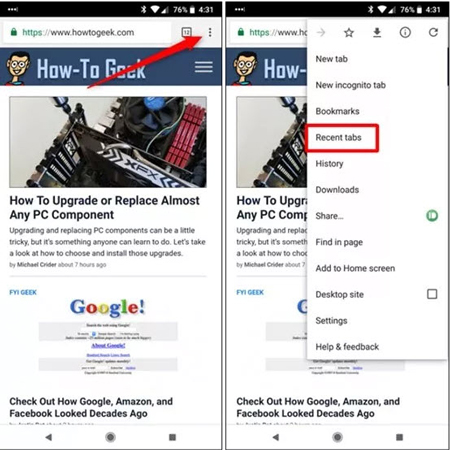 ارسال صفحه وب از کامپیوتر به گوشی, دسترسی به صفحات کروم از طریق گوشی