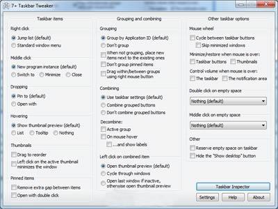 ویندوز ۷, سفارشی کردن نوار وظیفه