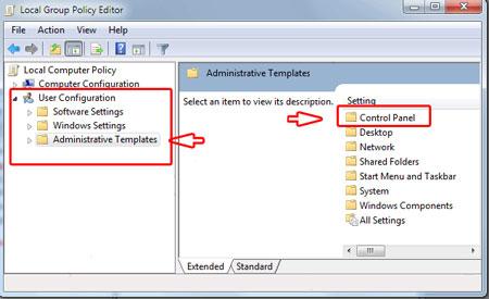 کنترل پنل ویندوز 7, کنترل پنل, تنظیمات ویندوز