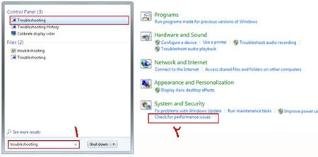 بهینه سازی ویندوز 7 با استفاده از ابزار troubleshooter, افزایش سرعت سیستم