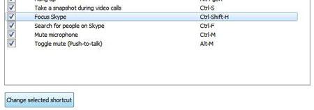 کلید های میانبر اسکایپ, کلید های میانبر