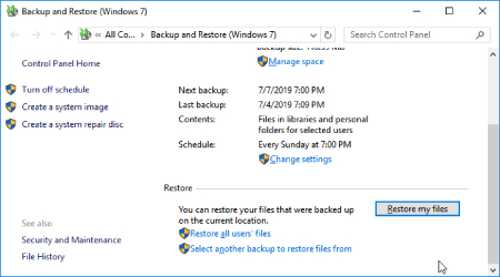 ویندوز 7, بازیابی اطلاعات هارد