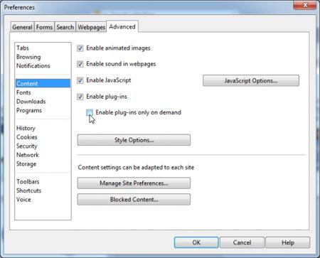 تنظیمات مرورگر, حالت پخش خودکار در مرورگر
