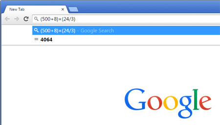 محاسبات سریع با کروم , جستجوگر گوگل
