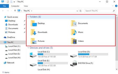 ترفندهای ویندوز 10, حذف مجموعه Library