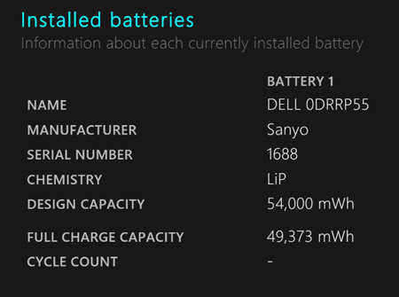 رجیستری ویندوز , وضعیت باتری لپتاپ
