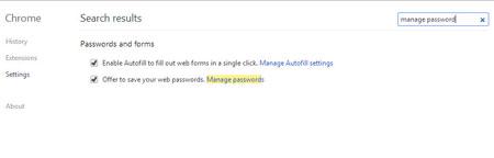 مرورگرکروم , غیرفعال کردن ذخیره رمزها در کروم