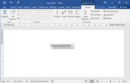 نحوه فرمول نویسی در word , فعال کردن فرمول نویسی در word