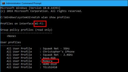 اولویتبندی اتصال شبکههای بیسیم , خط فرمان ویندوز