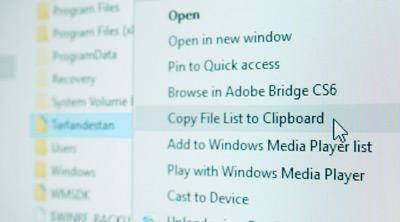 کپی لیست فایلهای موجود در یک پوشه با راستکلیک بر روی آن , راست کلیک
