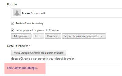 گوگل کروم, تنظیمات مرورگرها برای جلوگیری از ذخیره اطلاعات