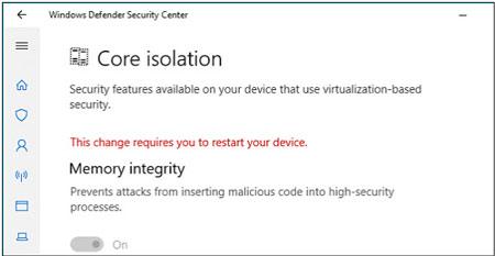 نرمافزار امنیتی ویندوز 10, رابط ویندوز 10