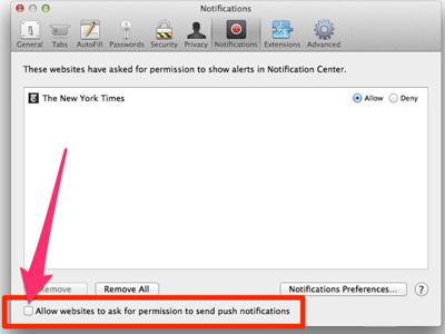 غیر فعال کردن نوتیفیکیشن سایت ها در مرورگرهای مختلف, اعلان سایت