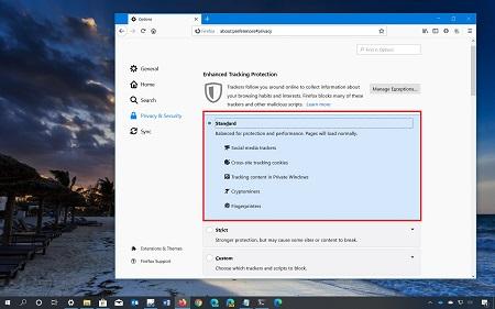 مکانات مرورگر فایرفاکس, غیر فعال کردن کوکیها در فایرفاکس, ویژگی Enhanced Tracking Protection فایرفاکس