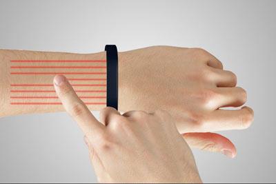 گوشی هوشمند,مچ بند هوشمند,تبدیل دست به صفحه لمسی