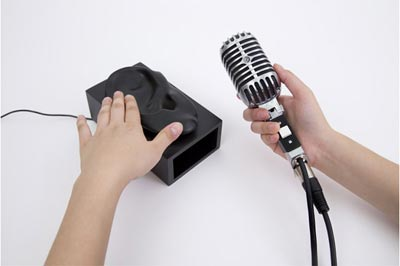 کاربرد های سیستم Ishin-Den-Shin,استفاده از انگشت دست به عنوان بلندگو
