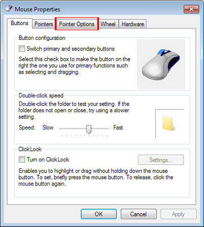 تنظیمات ماوس در رجیستری, افزایش سرعت ماوس مجازی