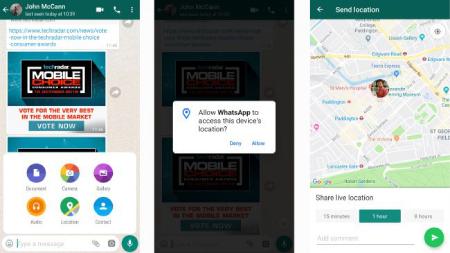 ارسال لوکیشن از طریق واتس آپ, مکان را در WhatsApp به اشتراک بگذارید