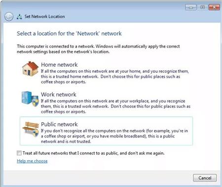 ترفندهای کامپیوتری , غیر وضعیت شبکه از حالت Private به Public