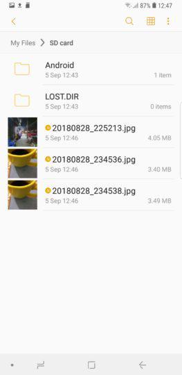 انتقال عکسها به کارت حافظه جانبی, حافظه داخلی گلکسی نوت 9